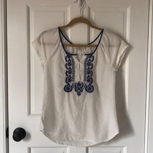 Blue and White 💙🤍 Loft Linen Blouse— x-small